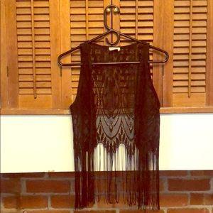Black lace fringe vest